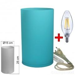 tischleuchte-glas-blau-tischlampe-e14-in-zylinder-form-hoehe-25cm-mit-led-filament-kerze-2-watt-klar